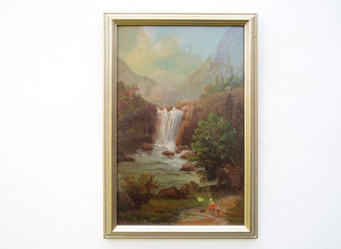 French Alps Oil Painting Framed Alpine Mountain Waterfall Landscape