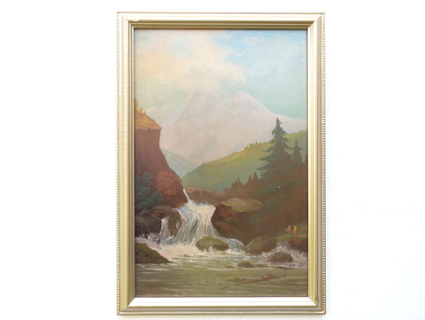 French Alps Oil Painting Framed Alpine Mountain Landscape Waterfall