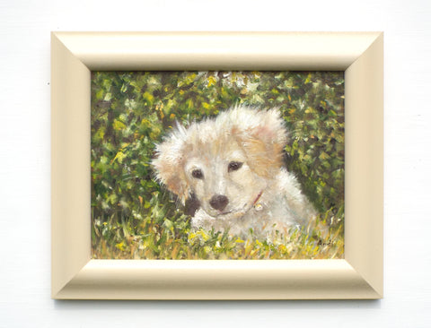 Yellow Labrador Puppy Original Framed Dog Painting by Andi Lucas