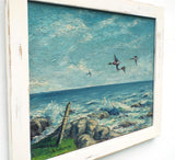 Seascape Oil Painting Ocean Wall Art Coastal Decor Framed Ducks