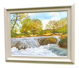 River Landscape Oil Painting Waterfall Framed Original Vintage