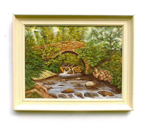 Bridge Over the River Landscape Oil Painting Framed Original