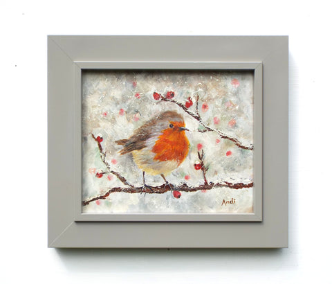 Robin Original Framed Bird Painting by Andi Lucas