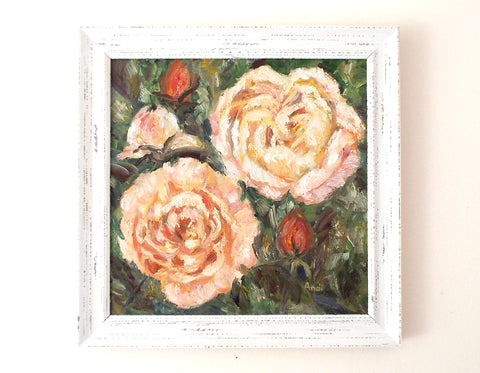 Peach Roses Still Life Oil Painting Signed Framed Flowers Impressionist