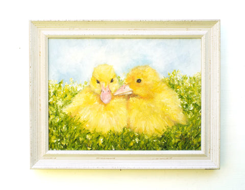 Yellow Ducklings Original Framed Bird Oil Painting by Andi Lucas