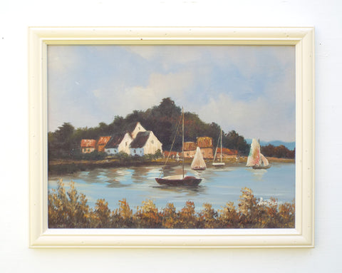 Sailing Boats Oil Painting Coastal Wall Art Cornish Beach House