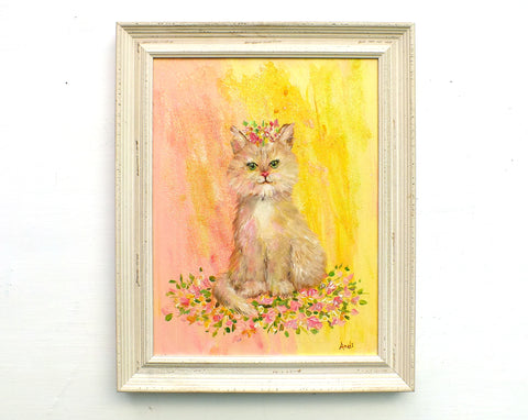 Cute Cat Original Framed Painting by Andi Lucas