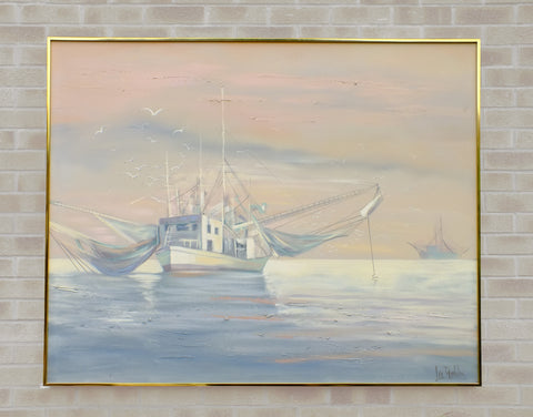 Fishing Boats Sunset Painting Huge Coastal Wall Art Signed Framed