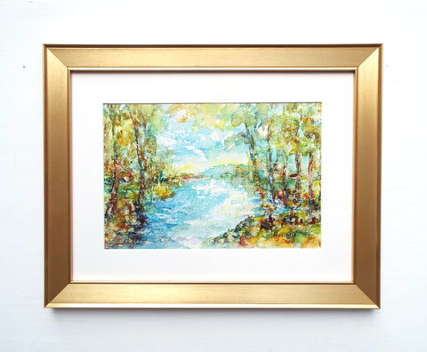 French River Impressionist Painting Framed Art