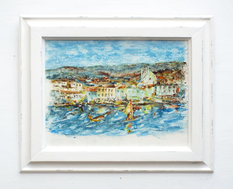 St Tropez French Beach Oil Painting Framed Nautical Sailing Art