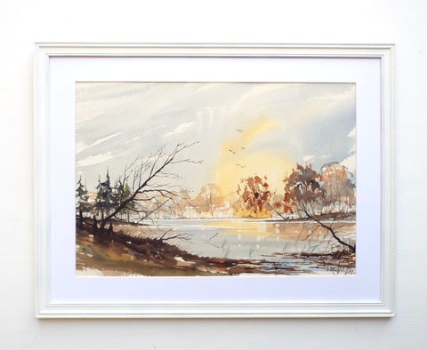 English Lakeside Landscape Watercolour Painting Framed