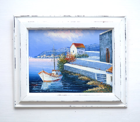 Mediterranean Oil Painting Greek Fishing Boats Harbour Framed Nautical Art