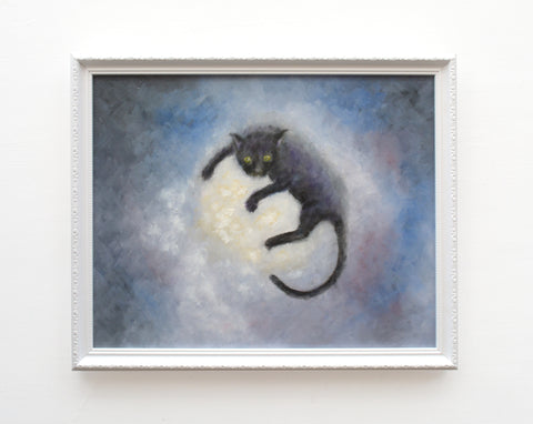 Black Cat on Full Moon Original Framed Painting by Andi Lucas