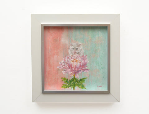 White mouse painting Original framed cute mouse painting Pink flower