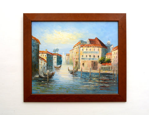 Venice Oil Painting Canal Gondolas Vintage Italian Boating