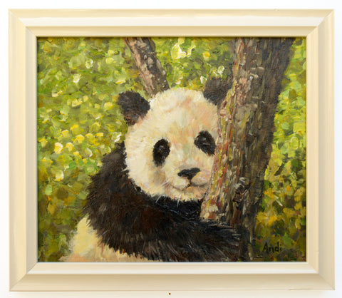 Baby Panda Portrait Painting Original Acrylic Wildlife Painting Signed Framed