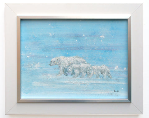 Polar Bear Family Original Framed Wildlife Painting by Andi Lucas