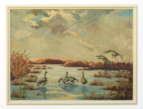 Geese Painting Original Oil Painting Signed Framed Wetlands Sunset