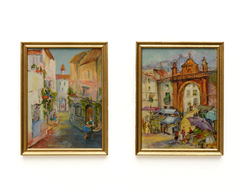 Plein Air Italian Street Scenes Pair of Vintage Oil Paintings