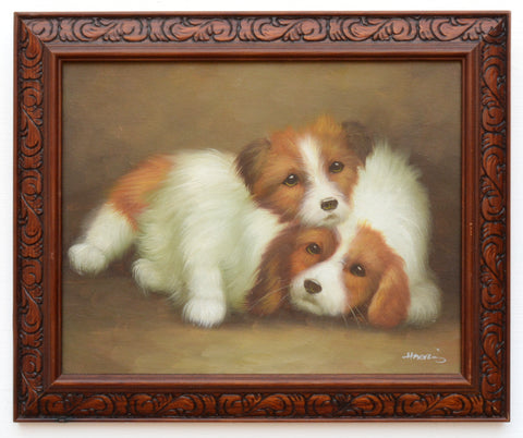 Original Oil Painting Signed Framed King Charles Spaniel and Sheep Dog