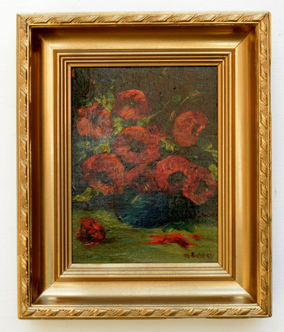 Red anemonies Painting Still Life Oil Painting Signed Framed