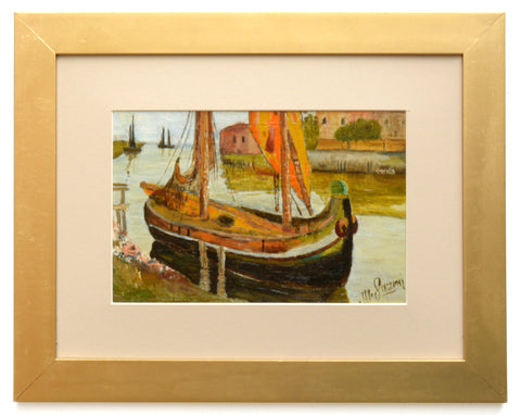 Italian Sailing Boat Oil Painting Vintage Framed Nautical Art