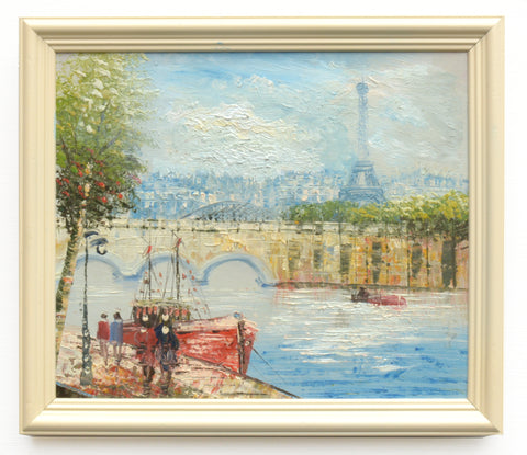 Paris Oil Painting Framed Vintage River Seine Eiffel Tower