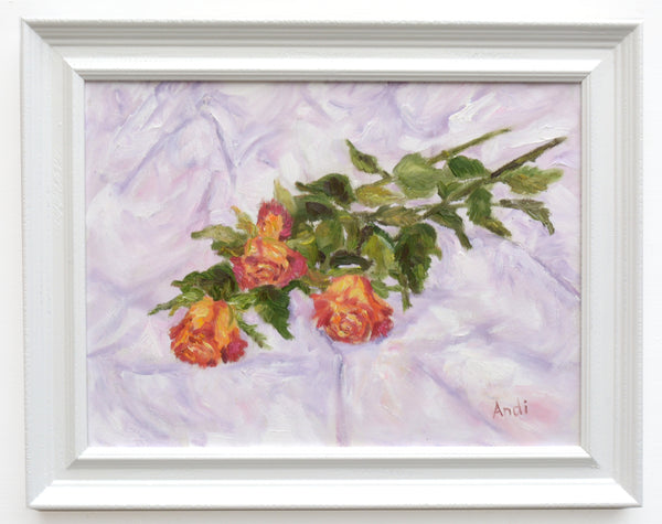 Variegated Roses Still Life Floral Painting Framed Original Flowers