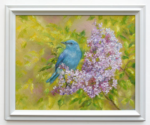 Mountain Bluebird Original Framed Wildlife Painting by Andi Lucas