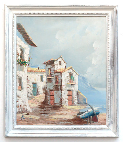 Spanish Coastal Village Scene Oil Painting Framed Original Vintage Architecture