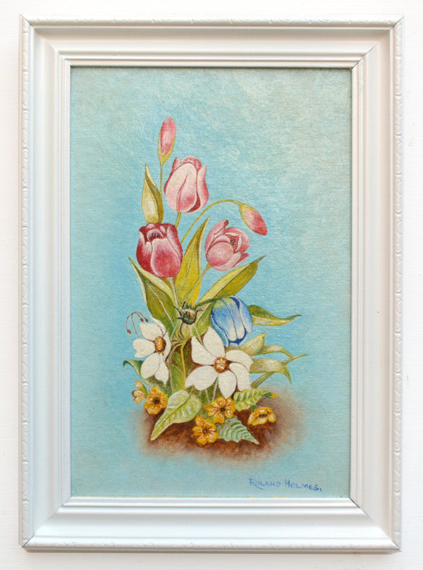 Tulips Still Life Vintage Oil Painting Framed Original Flowers