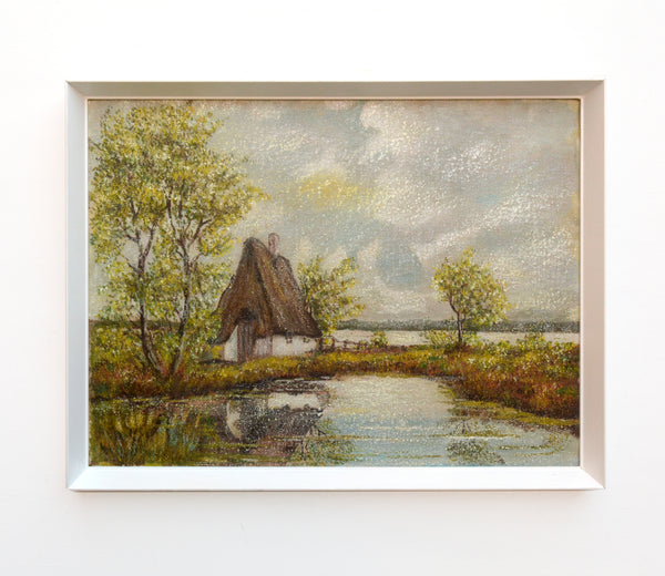 Thatched Cottage Vintage Oil Painting Signed Framed English Landscape