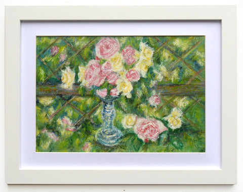 Yellow Pink Roses Floral Vintage Oil Painting Framed