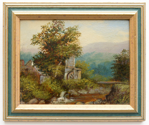 Watermill River Landscape Oil Painting Framed Original