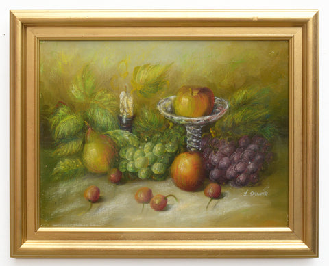 Antique Still Life Fruit Oil Painting Signed Framed Original