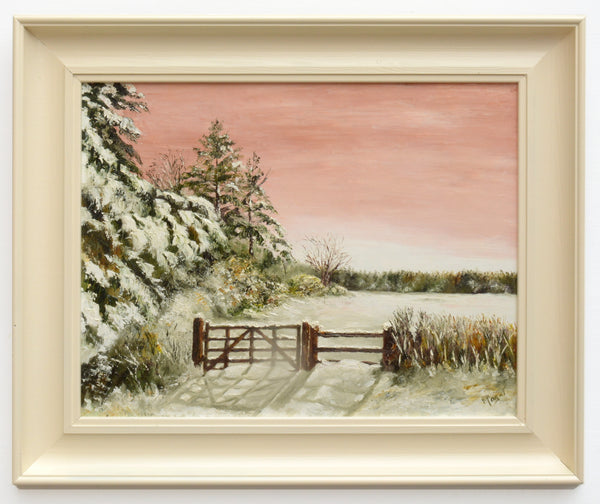 Winter Sunset Vintage Landscape Oil Painting Farmed Snowscape