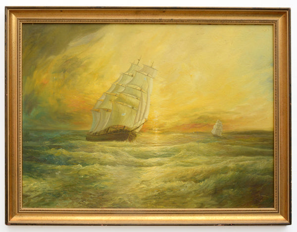 Large Seascape Sunset Oil Painting Vintage Sailing Boats Signed Framed