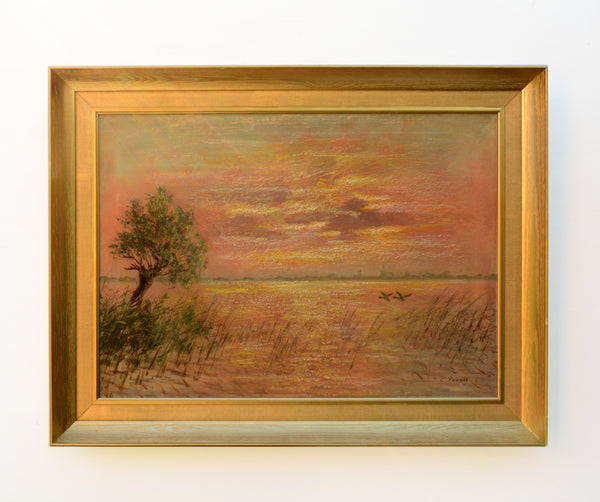 Norfolk Broads Sunset Large Vintage Oil Painting Signed Framed