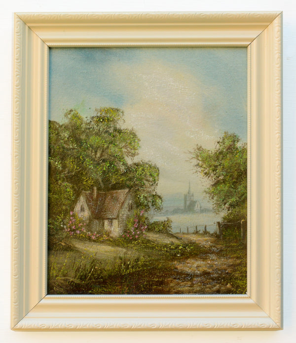 English Country Cottage Landscape Vintage Oil Painting Framed