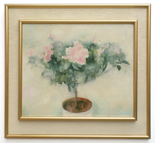Pink Roses Large Still Life Floral Vintage Oil Painting Framed