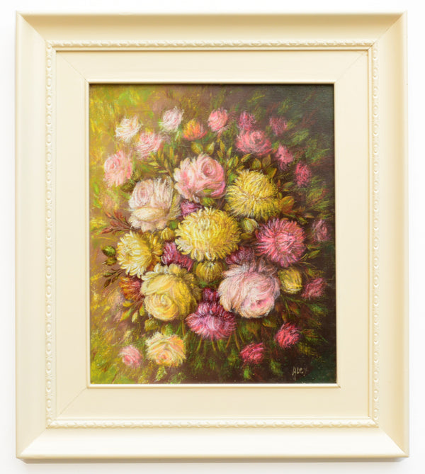 Roses Chrysanthemums Still Life Floral Vintage Oil Painting Framed