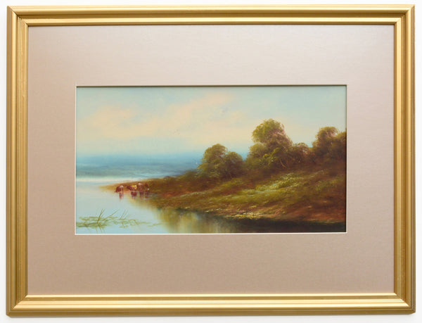English Landscape Vintage Oil Painting Lakeside Cattle Framed Antique oil painting