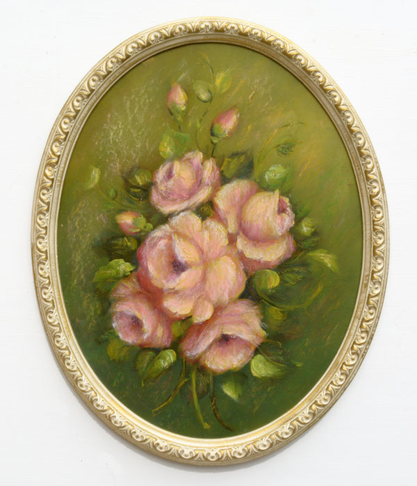 Pink Roses Still Life Oil Painting Framed Oval Original Vintage Oil Painting Flowers Painting Floral art Rose
