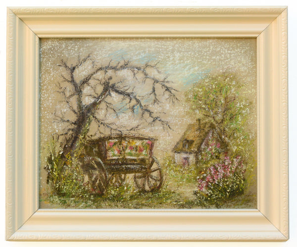 English Country Cottage Landscape Vintage Oil Painting Farm Cart Framed Painting