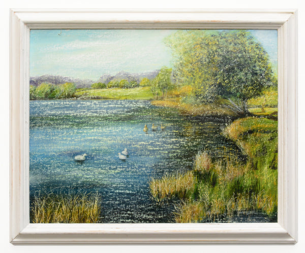 Duck Pond English Landscape Vintage Oil Painting Lakeside Wildlife Framed oil painting