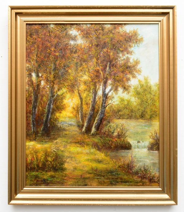 English Forest Landscape Riverbank Path Vintage Oil Painting Framed