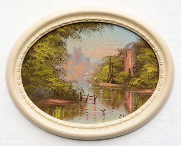 English River Landscape Vintage Watermill Oil Painting Framed Oval