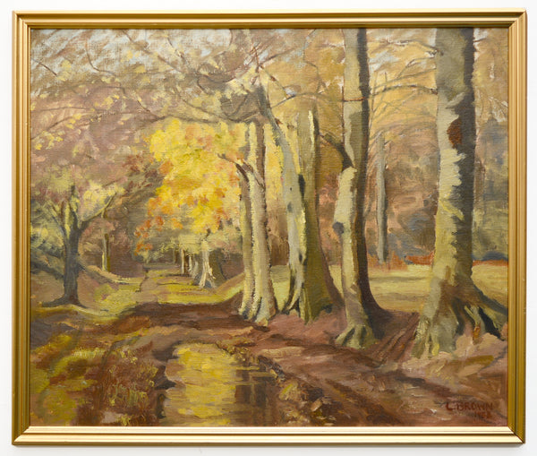 English Forest Landscape Woodland Track Vintage Oil Painting Framed Signed