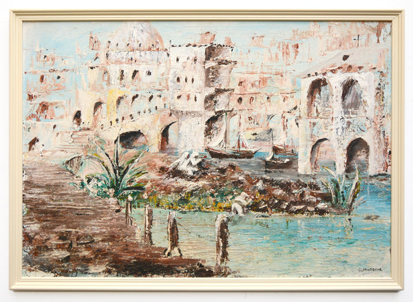 Arabian Fishing Village Vintage Oil Painting Framed Signed Islamic Arab Architecture