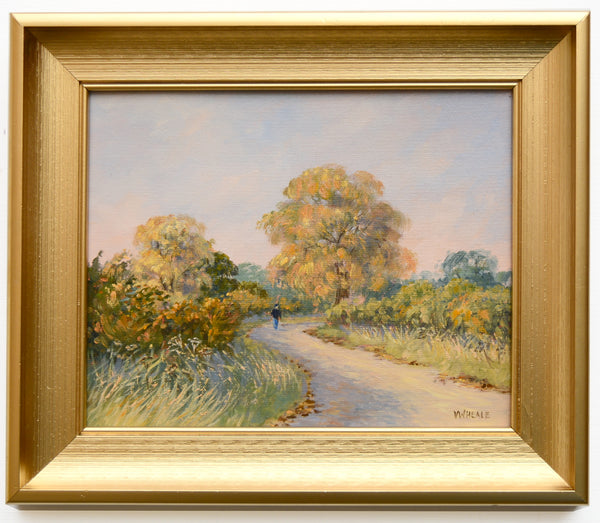 Country Lane Sunset English Landscape Oil Painting Framed Original
